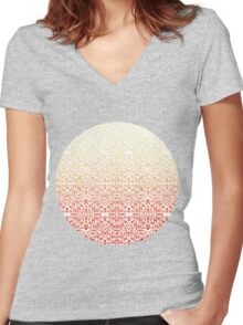 Damask Style Inspiration Women's Fitted V-Neck T-Shirt
