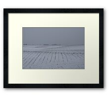 Winter Farm Fields - Rolling Hills on a Bleak Snowy Day Framed Print