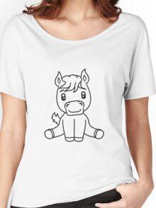 sweet cute sitting comic cartoon pony horse pferdchen kawaii child girl baby foal Women's Relaxed Fit T-Shirt