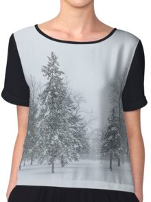 Snowstorm - Tall Trees and Whispering Snowflakes Chiffon Top