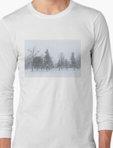 Snowstorm - Tall Trees and Whispering Snowflakes Long Sleeve T-Shirt