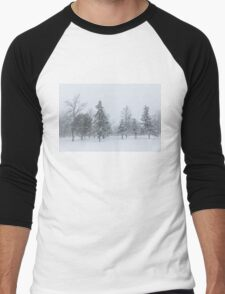 Snowstorm - Tall Trees and Whispering Snowflakes Men's Baseball ¾ T-Shirt