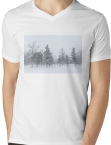 Snowstorm - Tall Trees and Whispering Snowflakes Mens V-Neck T-Shirt