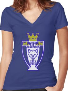 Leicester City Champions Women's Fitted V-Neck T-Shirt