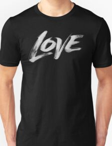 Bold White Love Word - Hand Lettering - Artistic Calligraphy for Valentine Unisex T-Shirt