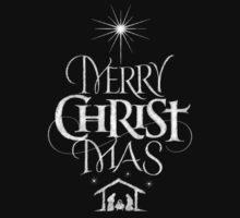 Merry Christmas Religious Christian Calligraphy Christ Mas Chalkboard Jesus Nativity Kids Tee