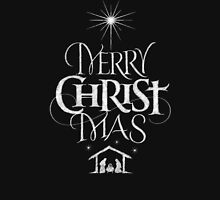 Merry Christmas Religious Christian Calligraphy Christ Mas Chalkboard Jesus Nativity Classic T-Shirt