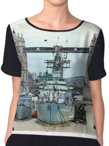 War Ship Belfast in London Chiffon Top