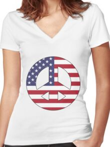 American Peace Symbol Women's Fitted V-Neck T-Shirt