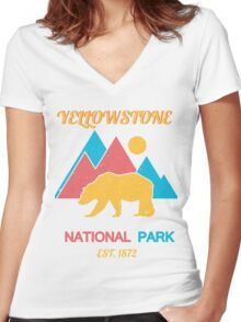 YELLOWSTONE Women's Fitted V-Neck T-Shirt