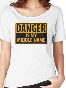 """Funny, """"DANGER, Is My Middle Name"""" Metal with Rust Sign Yellow Black Women's Relaxed Fit T-Shirt"""