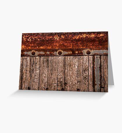 grunge wood panel semi truck Greeting Card
