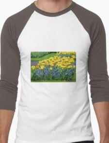 Tulips and Grape Hyacinths - Keukenhof Gardens Men's Baseball ¾ T-Shirt