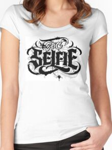 'Epic Selfie' Black Goth Grunge Tattoo Hand Lettering Calligraphy Women's Fitted Scoop T-Shirt