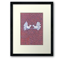Two Turtle Doves and Roses Framed Print