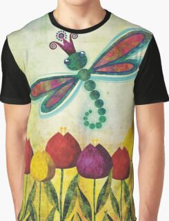 Dragonfly & Tulips Graphic T-Shirt
