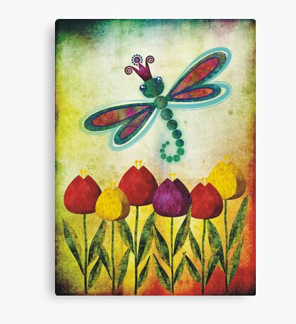 Dragonfly & Tulips Canvas Print