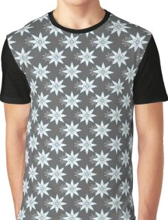 Seamless Pattern Blue Flowers On Gray Graphic T-Shirt
