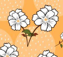 White Floral Pattern - Yellow Background Sticker