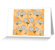 White Floral Pattern - Yellow Background Greeting Card