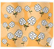 White Floral Pattern - Yellow Background Poster