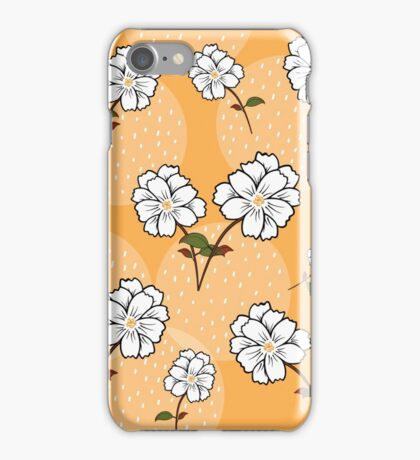 White Floral Pattern - Yellow Background iPhone Case/Skin