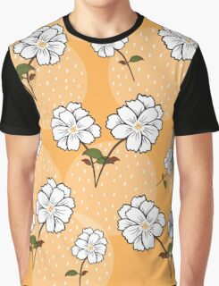 White Floral Pattern - Yellow Background Graphic T-Shirt
