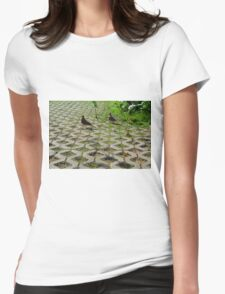 Pigeons on the pavement and grass in the park. Womens Fitted T-Shirt