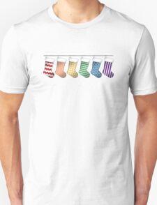 Rainbow Christmas Stockings Unisex T-Shirt