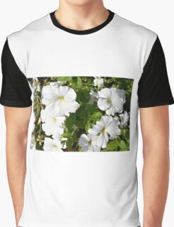 White flowers in the green bush. Graphic T-Shirt