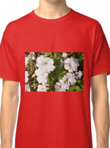White flowers in the green bush. Classic T-Shirt