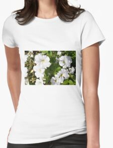 White flowers in the green bush. Womens Fitted T-Shirt