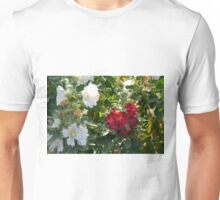 Red and white flowers in the park. Natural background. Unisex T-Shirt