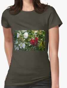 Red and white flowers in the park. Natural background. Womens Fitted T-Shirt
