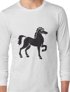 black cool riding horse stallion equestrian comic cartoon Long Sleeve T-Shirt