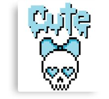 8-bit Cute Skull Pastel Goth (Blue) Canvas Print