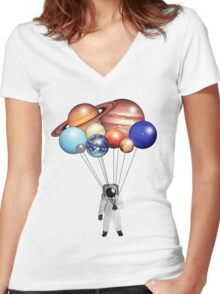 Astronaut's Balloons Women's Fitted V-Neck T-Shirt