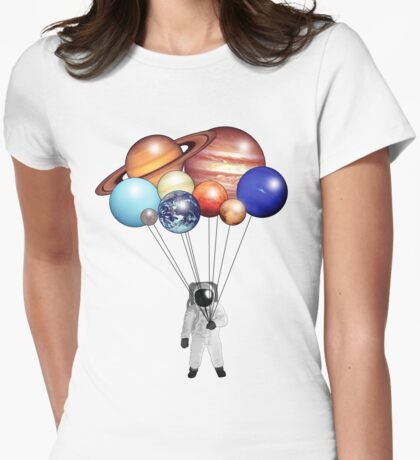Astronaut Balloons Womens Fitted T-Shirt