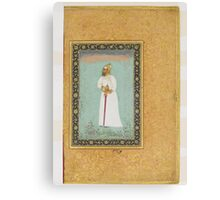 Portrait of Ibrahim 'Adil Shah II of Bijapur, Folio from the Shah Jahan Album Canvas Print