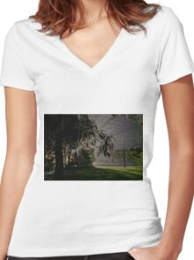 0647 Through the trees Women's Fitted V-Neck T-Shirt
