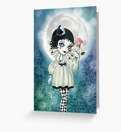 Pierrette Under the Icy Moon Greeting Card