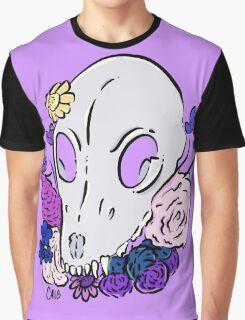 Floral Dog Skull Graphic T-Shirt