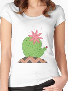 Bright Cactus Vector Illustration Women's Fitted Scoop T-Shirt