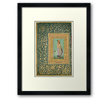 Portrait of Sayyid Abu'l Muzaffar Khan, Khan Jahan Barha, Folio from the Shah Jahan Album Framed Print