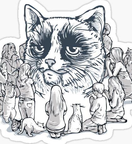 the worship of cat  Sticker