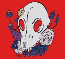 Floral Dog Skull Baby Tee