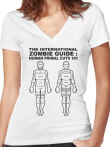 ZOMBIE GUIDE Women's Fitted V-Neck T-Shirt