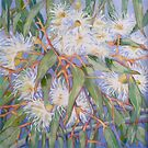 White gum blossom outside our window 2012Ⓒ. Oil on canvas by Elizabeth Moore Golding
