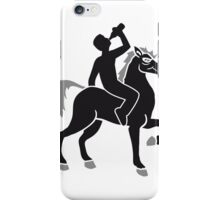 drink booze party beer Oktoberfest alcohol drink drunk black cool riding horse stallion equestrian comic cartoon iPhone Case/Skin