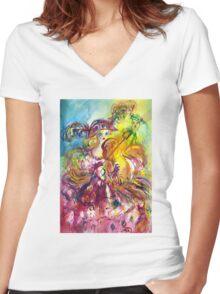 ARLECCHINA  VIOLINIST / Venetian Carnival Night Women's Fitted V-Neck T-Shirt